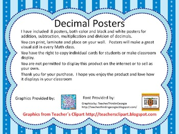 Decimal Operations Posters