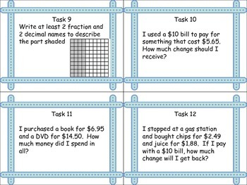 Decimal and Money Task Cards: Fourth and Fifth grade Common Core Aligned
