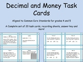Decimal and Money Task Cards: Fourth and Fifth grade Commo