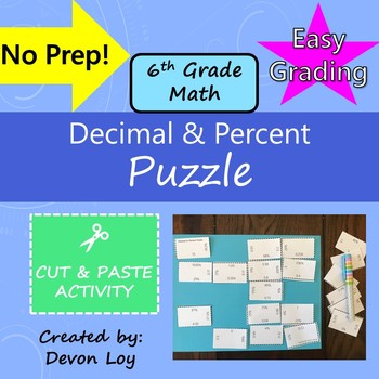 Decimal and Percent: Cut and Paste Puzzle