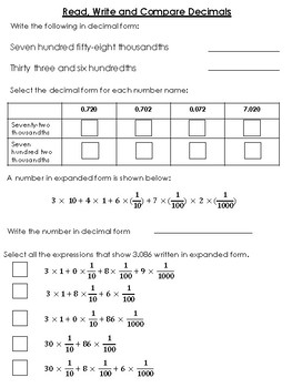Decimal and Place Value Understanding Review Problems