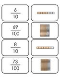Decimal, base ten and fraction matching game-Common Core Alligned