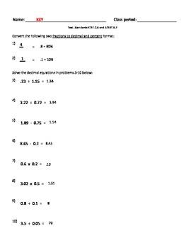 Decimal mixed operations assessment - test - quiz  Common Core Math 5.NBT,B.7