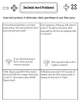 Decimal multi step words problems-All operations
