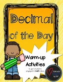 Decimal of the Day - A Warm-up Math Activity