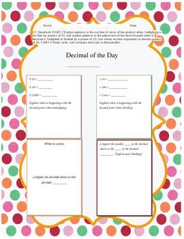 Decimal of the Day Common Core