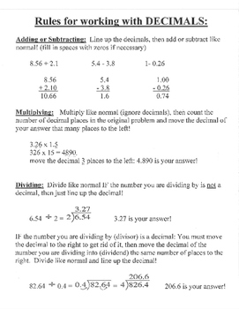 Decimal rules outline study guide cheat sheet examples