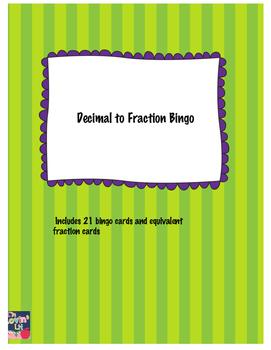 Decimal to Fraction Bingo