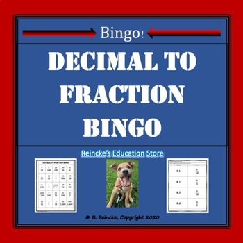 Decimal to Fraction Bingo (30 pre-made cards!)