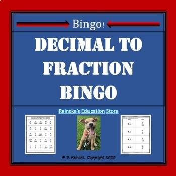 Decimal to Fraction Bingo (30 pre-made cards!)