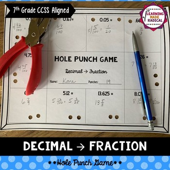 Decimal to Fraction Hole Punch Game
