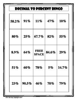 Decimal to Percent Bingo (30 pre-made cards!)