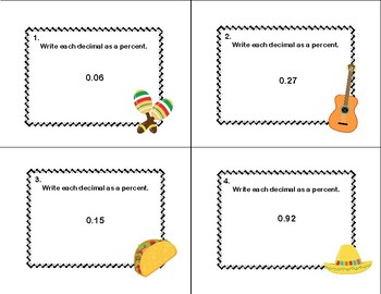 Decimal to Percent Task Cards-Cinco de Mayo Theme
