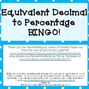Decimal to Percentage Bingo
