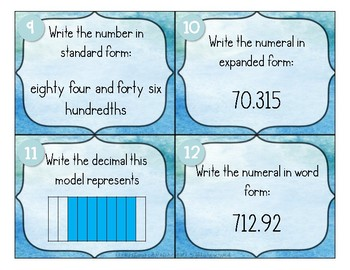 Decimal to the Thousandth Place Value Task Cards