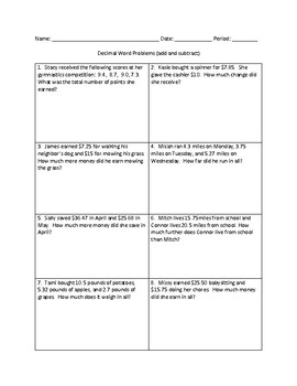 Decimal word problems add and subtract