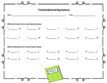 Decimal/Fraction Equivalence Activity Pack {4 COMPLETE RESOURCES!!}