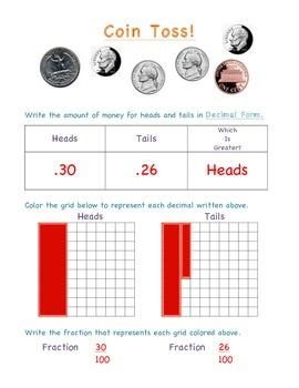 Decimal/Fraction Math Station - Coin Toss