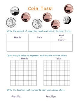 Decimal/Fraction Math Station - Coin Toss