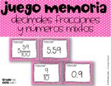 Decimales Fracciones y Números Mixtos Juego Memoria 5.nbt.1