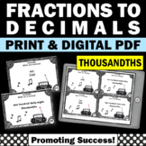 Write as a Decimal Task Cards ( Thousandths ) 4th Grade Math Review