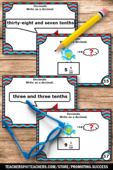 Fractions as Decimals Task Cards TENTHS, 4th Grade Math Review, Fraction Games