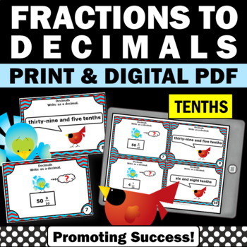 Fractions as Decimals to the Tenths Task Cards Math Games