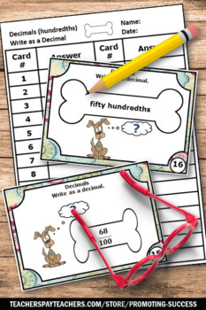 Fractions as Decimals Task Cards HUNDREDTHS 4th Grade Math Review Games SCOOT