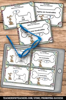 Write as a Decimal Task Cards ( Hundredths ) 4th Grade Math Review Game
