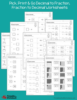 Converting Fractions to Decimals (to Fraction) Worksheets With Answer Keys