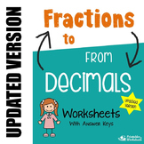 Converting Fractions to Decimals, Converting Decimals to Fractions Worksheets