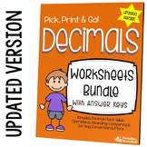 Operations With Decimal, Place Value Worksheets, Compare,