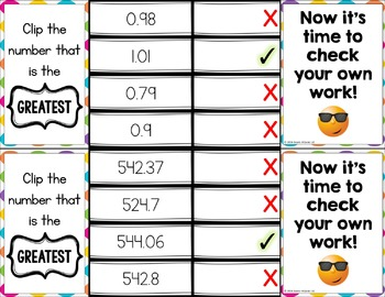 Comparing Decimals: Comparing Decimals to Thousandths Task Cards {5.NBT.3}