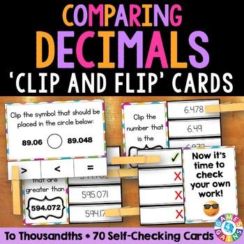 Comparing Decimals: Comparing Decimals to Thousandths Task