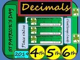 St Patrick's Day Decimals Challenges - Math - Grade 4, Grade 5 and Grade 6
