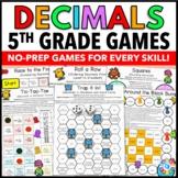 5th Grade Decimal Games: 5th Grade Math Games No Prep {5.NBT.3, 5.NBT.4}