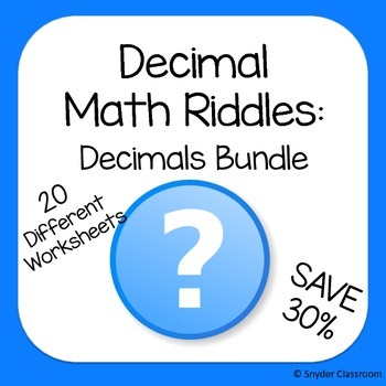 Decimals Math Riddles Bundle