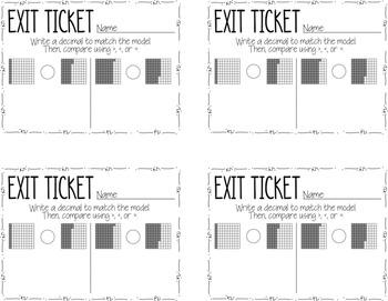 Common Core Exit Tickets: Comparing Decimals {4.NF.7}