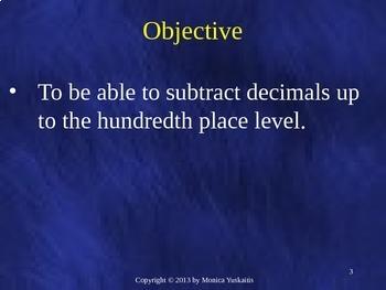 Common Core 4th - Decimals 4 - Subtraction of Decimals