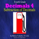 4th Grade Decimals 4 - Subtraction of Decimals Powerpoint Lesson