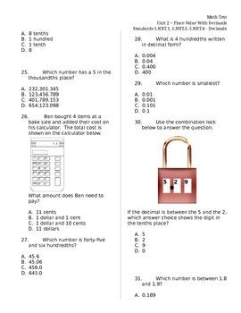 Decimals 5.NBT.1 5.NBT.3 5.NBT.4 ASSESSMENT Test