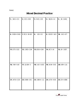 Decimals: 5th Grade Mixed Operations Practice Sheet