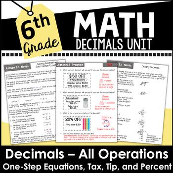 6th Grade Math Decimals Curriculum Unit 5