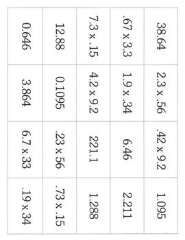 Decimals Activities - Multiplying Decimals