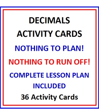Decimals Activity Cards and Lesson Plan