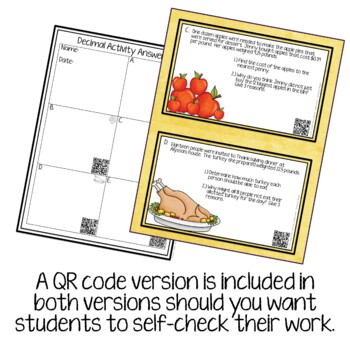 Decimal Activity for Thanksgiving with QR Codes