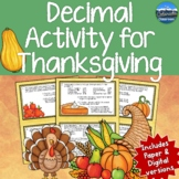 Thanksgiving Math Activity | Thanksgiving Decimal Math Act