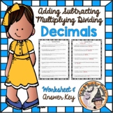 Decimals Add Subtract Multiply Divide Review Word Problems Worksheet