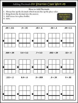 Operations with Decimals Homework