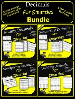 Decimals- Adding, Subtracting, Multiplying, and Dividing Practice